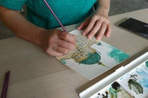 watercolour-class-for-adult-in-kl-mont-kiara-desa-sri-hartamas-yellow-easel-my